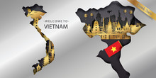 Vietnam Travel Postcard, Poster, Tour Advertising Of World Famous Landmarks In Paper Cut Style. Vectors Illustrations