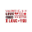 Pixel art Valentine's day text design.