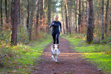 Woman Jogging In Forest With Her Dog