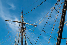 View From Below Of The Mast And Shrouds Of A Vintage Tall Ship.