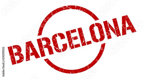 Photo Barcelona stamp. Barcelona grunge round isolated sign