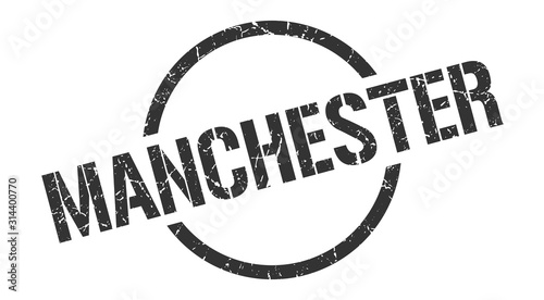 Manchester stamp. Manchester grunge round isolated sign