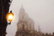Oil Painting Style Illustration Of Prague With Old Street Lantern