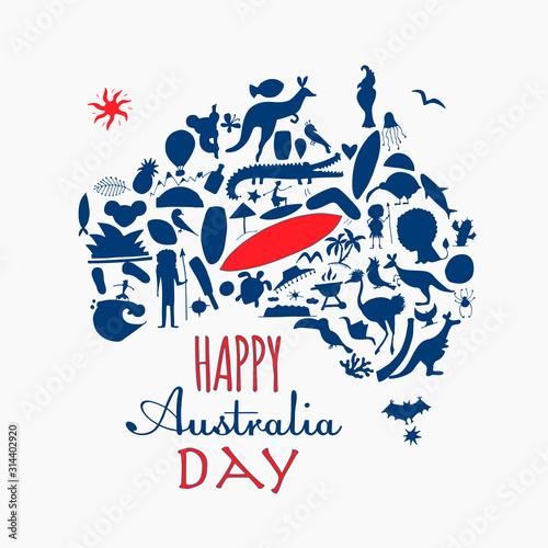 Happy Australian Day. Greeting card design