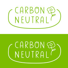 Carbon Neutral. Badge Vector Illustrations On White And Green Background.