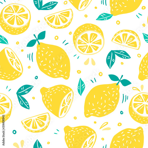 Seamless pattern with Fresh lemons for fabric, drawing labels, print on t-shirt, wallpaper of children's room, fruit background