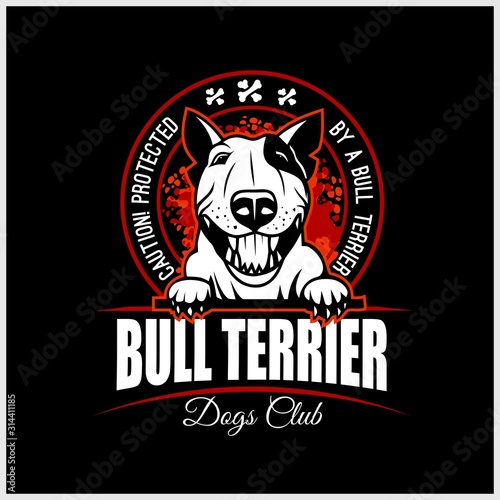 Bull Terrier - vector illustration for t-shirt, logo and template badges Fototapet
