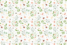 Floral Seamless Pattern In The White Backdrop.