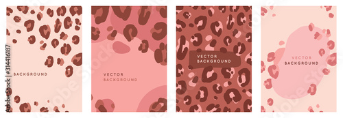 Vector set of abstract creative backgrounds in minimal trendy style with copy sp Poster Mural XXL