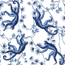 Tropical Vintage Liana, Monkey Animals Floral Seamless Pattern White Background. Exotic Blue Jungle Wallpaper.