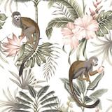 Tropikalny vintage małpa zwierząt, palmy, drzewa bananowe, kwiat hibiskusa, owoce brzoskwini, liście palmowe kwiatowy wzór białe tło. Tapeta egzotycznej dżungli. - 314416903