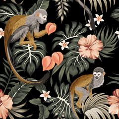 Fototapeta Egzotyczne Tropical vintage monkey animal, hibiscus flower, peach fruit, palm leaves floral seamless pattern black background. Exotic jungle wallpaper.