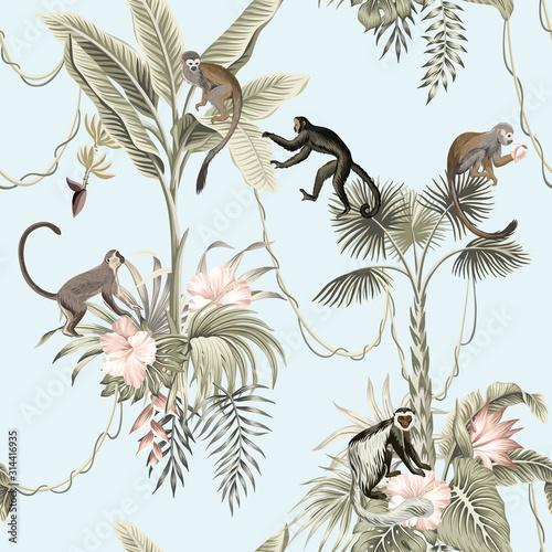 Hawaiian vintage botanical palm tree,banana tree, palm leaves, hibiscus flower, liana, monkey animal summer paradise floral seamless pattern blue background.Exotic jungle wallpaper.