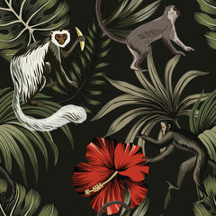 Fototapeta Do pokoju młodzieżowego Tropical night vintage monkey, palm leaves, red hibiscus flower floral seamless pattern dark background. Exotic jungle wallpaper.