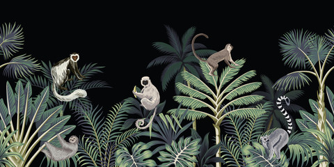 Panel Szklany Zwierzęta Tropical night vintage floral palm tree, banana tree, plants, wild animals monkey, sloth, lemur seamless border black background. Exotic dark jungle wallpaper.