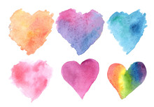 Watercolor Illustration Set Of Hearts Orange Blue Pink Purple Rainbow On A White Background. For The Holiday Valentine's Day. For Design, Cards, Invitations.