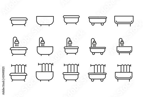 Fotografía Set of bath related vector line icons.