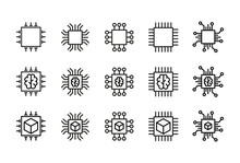 Icon Set Of Chip.