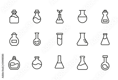 Obraz Stroke line icons set of flask. - fototapety do salonu