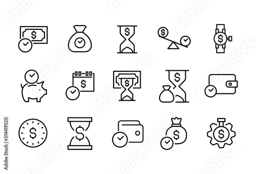 Cuadros en Lienzo Set of time is money related vector line icons.