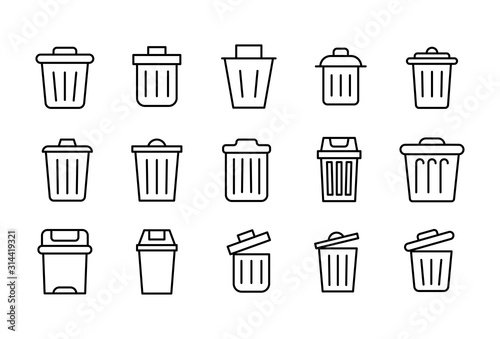 Set of trash can related vector line icons. Wallpaper Mural