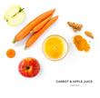 canvas print picture - Creative layout made of carrot and apple juice. Flat lay. Food concept. Carrot and apple on the white background.