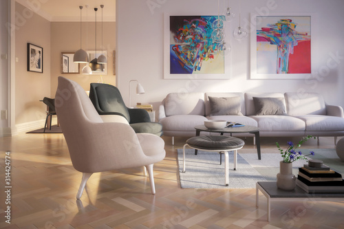 Contemporary Luxury Furnishing - 3d visualization Canvas Print