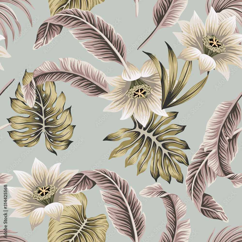 Fototapeta Tropical vintage white hibiscus, palm leaves floral seamless pattern grey background. Exotic jungle wallpaper.
