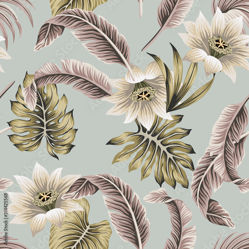 Obraz Tropical vintage white hibiscus, palm leaves floral seamless pattern grey background. Exotic jungle wallpaper. - fototapety do salonu