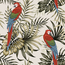 Tropical Vintage Macaw Parrot,...