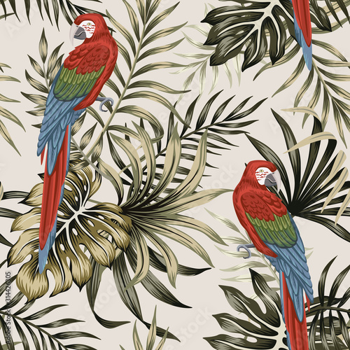 Tropical vintage macaw parrot, palm leaves floral seamless pattern beige background. Exotic jungle wallpaper. Fotomurales