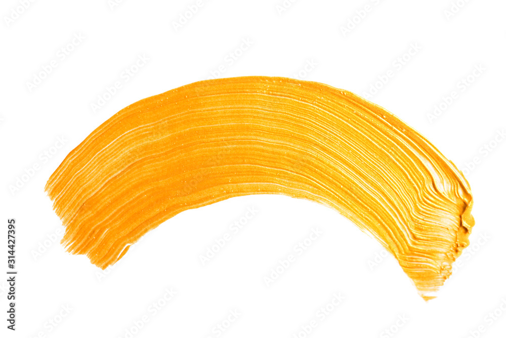 Fototapeta Gold yellow brush stroke isolated on white background. Gold abstract stroke. Colorful watercolor brush stroke.