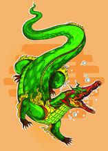 Thai Alligator Pattern Graphic For Vector Illustration