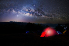 Camping And Tent Under The Wit...