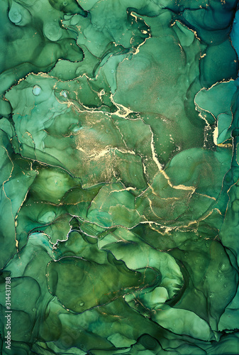 Alcohol ink colors translucent. Abstract multicolored marble texture background. Design wrapping paper, wallpaper. Mixing acrylic paints. Modern fluid art. Alcohol Ink Pattern - 314431788