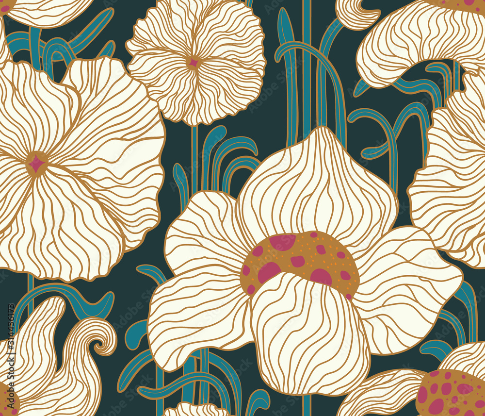 Fototapeta Vector outline stylised elegant flowers seamless pattern in style Art Nouveau, Jugendstil. Pattern can be used for wallpaper, pattern fills, web page background, surface textures