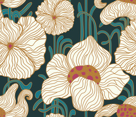 Fototapeta Art Deco Vector outline stylised elegant flowers seamless pattern in style Art Nouveau, Jugendstil. Pattern can be used for wallpaper, pattern fills, web page background, surface textures