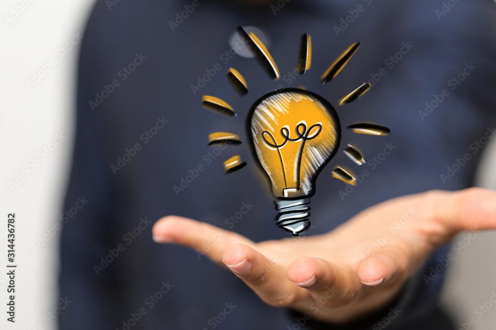 Fototapeta solution concept business idea lamp