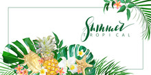 Tropical Banner With Flowers A...