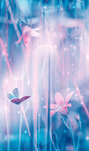 Dreamy Spring Bellflowers Bloom, Butterfly Close-up, Sunlight Vertical Panorama. Spring Floral Mixed Media Art. Artistic Toned Image. Pastel Blue Pink Toned. Macro With Soft Focus. Nature Background