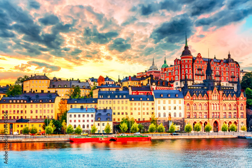 plakat Stockholm, Sweden. Scenic summer sunset view with colorful sky of the Old Town architecture in Sodermalm district.