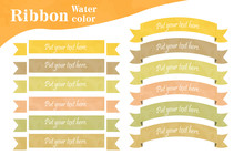 水彩テクスチャーのリボン素材セット