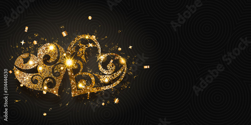Obraz Valentine's day card with two shiny hearts of golden sparkles with glares and shadows on dark background - fototapety do salonu