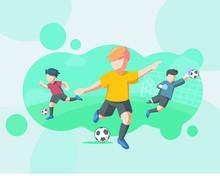Football Kids Illustration, Illustration Web