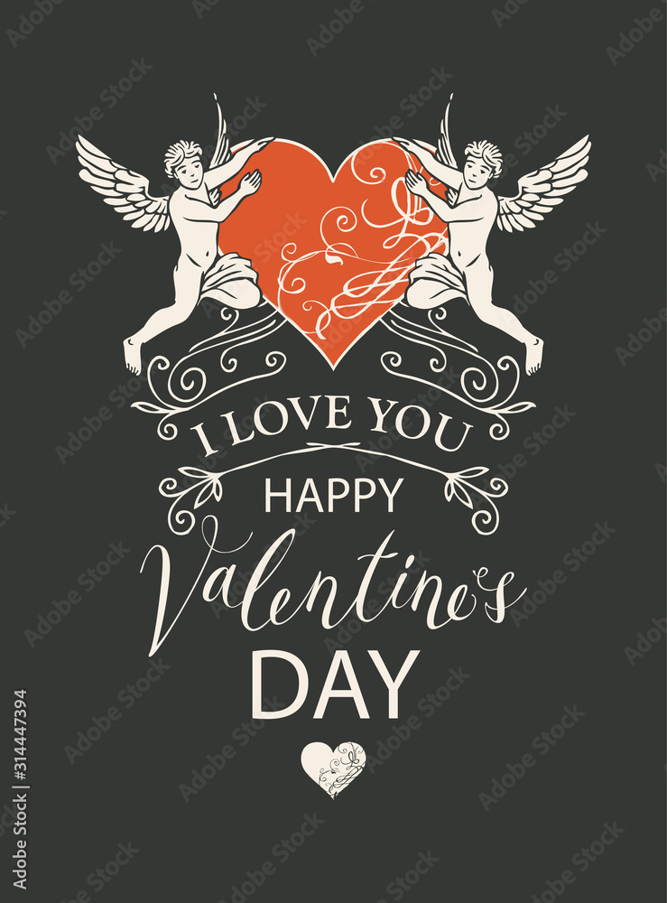 Fototapeta Vector greeting card, postcard or banner with inscriptions I Love you and Happy Valentines Day. Valentine card with angels and red heart in retro style on black background