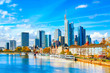 Skyline cityscape of Frankfurt, Germany during sunny day. Frankfurt Main in a financial capital of Europe.
