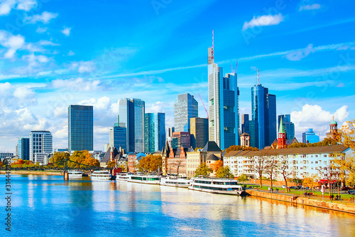 plakat Skyline cityscape of Frankfurt, Germany during sunny day. Frankfurt Main in a financial capital of Europe.