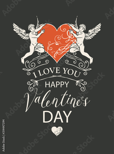 Obraz Vector greeting card, postcard or banner with inscriptions I Love you and Happy Valentines Day. Valentine card with angels and red heart in retro style on black background - fototapety do salonu