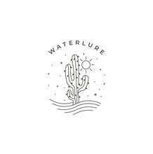 Cactus And Sun In Desert Art Line Drawing Logo Design Vector