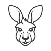 Kangaroo Head Icon. Logo On White Background. Vector